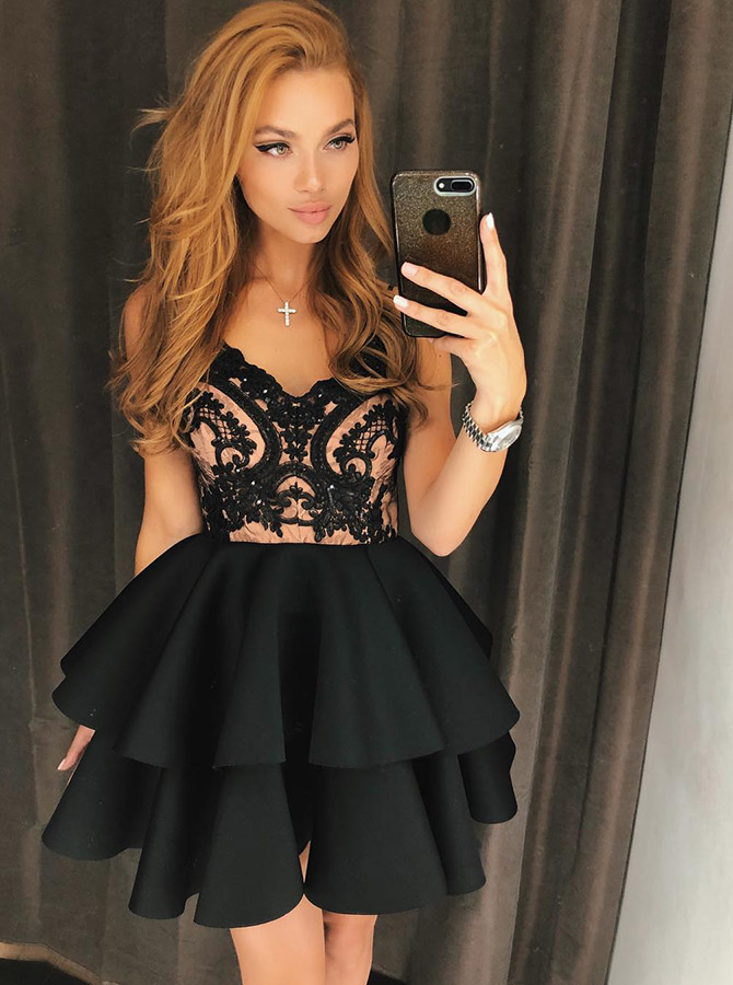 Simple-dress / A-Line Spaghetti Straps Tiered Black Homecoming Dress with Lace
