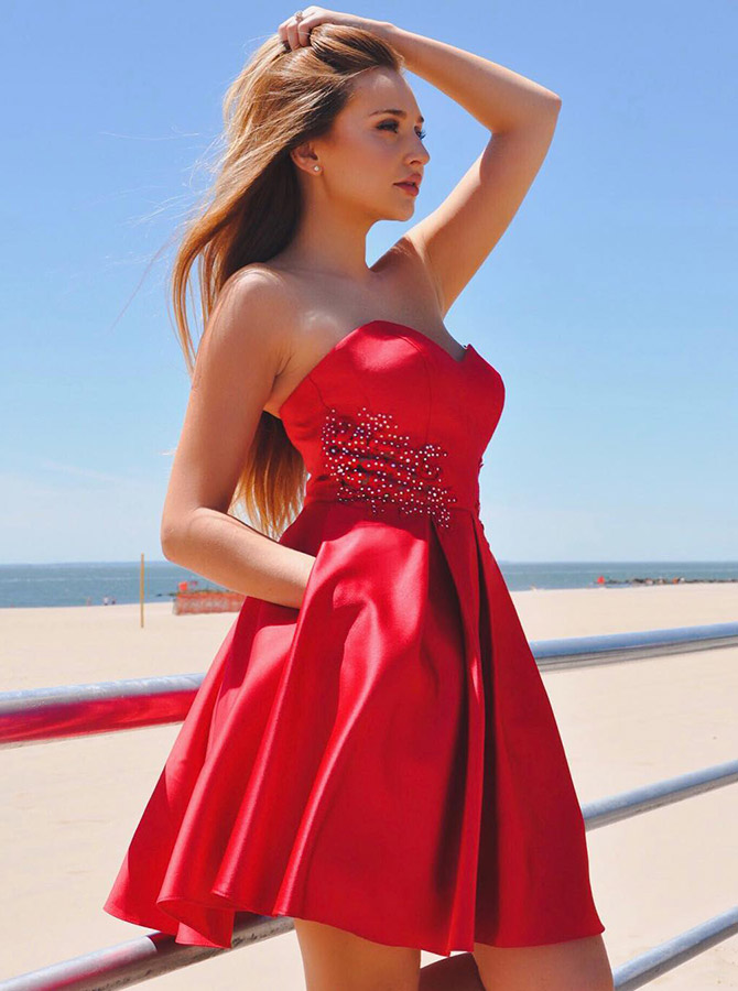 A-Line Sweetheart Red Satin Homecoming Dress with Beading Pockets фото