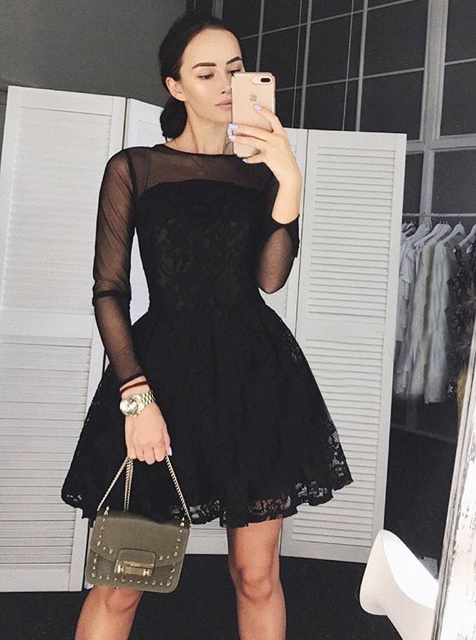 A-Line Bateau Short Lace Homecoming Party Dress with Sleeves фото