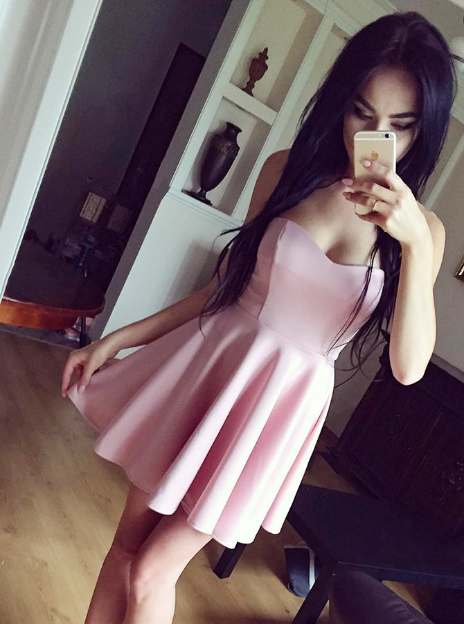 Simple-dress / A-Line Sweetheart Pink Satin Short Homecoming Party Dress