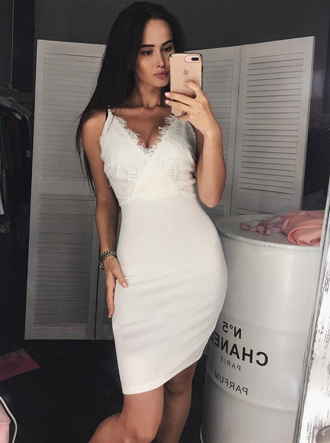 Bodycon V-Neck White Satin Homecoming Party Dress with Lace фото