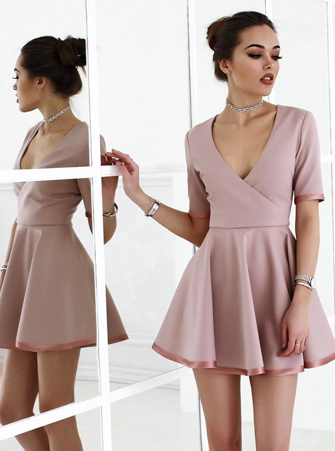 A-Line Scoop Blush Satin Short Homecoming Party Dress with Sleeves фото