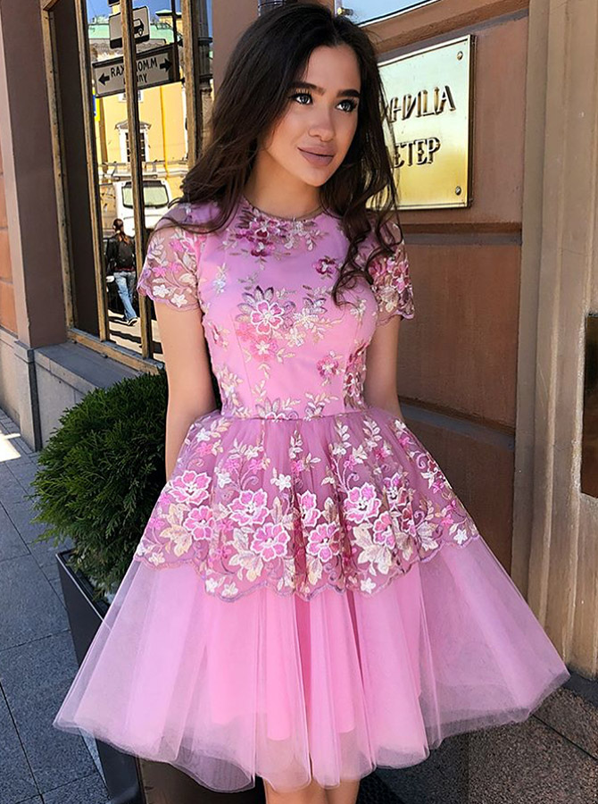 A-Line Jewel Short Sleeves Pink Tulle Homecoming Dress with Lace