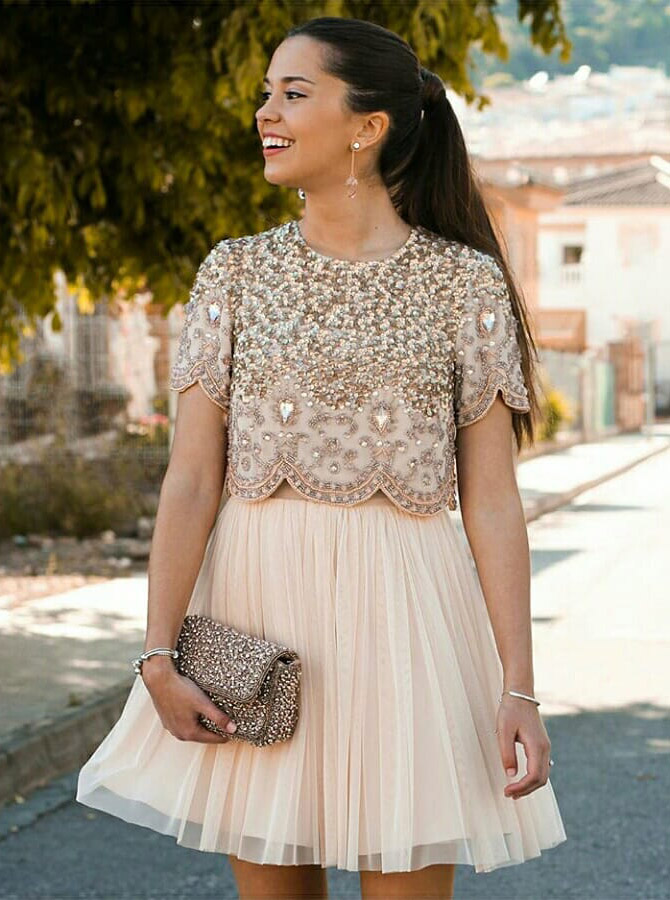 Two Piece Round Neck Champagne Homecoming Dress with Beading Sequins Rhinestone