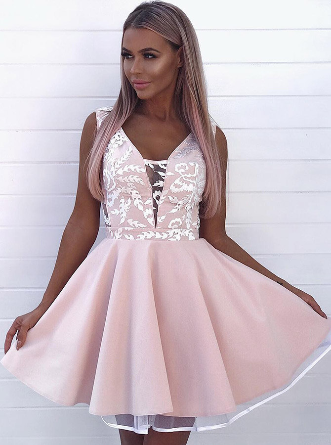 A-Line V-Neck Low Cut Pink Satin Homecoming Party Dress with Lace