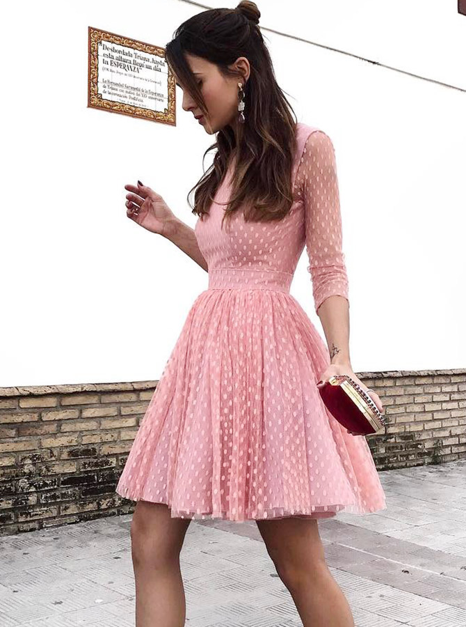 A-Line Jewel Backless Short Pink Lace Homecoming Party Dress with Sleeves фото