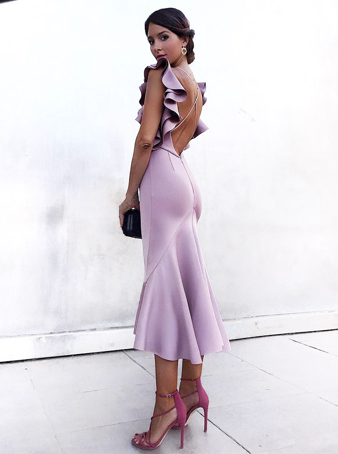 Mermaid Bateau Criss Cross Lavender Cocktail Party Dress with Ruffles