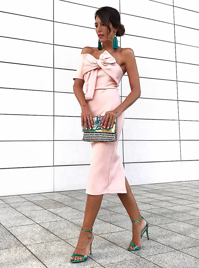 Sheath One Shoulder Mid Calf Pink Satin Cocktail Dress with Bowknot фото