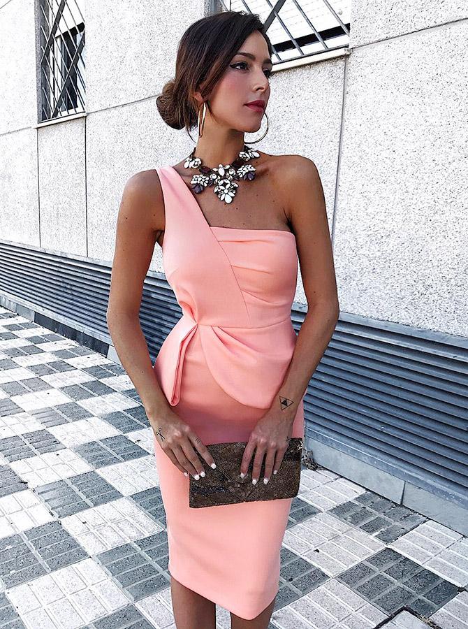 Sheath One Shoulder Knee Length Pink Satin Bridesmaid Dress фото