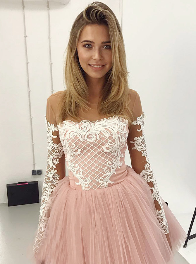 A-Line Round Neck Pink Short Homecoming Dress with Appliques Sleeves фото