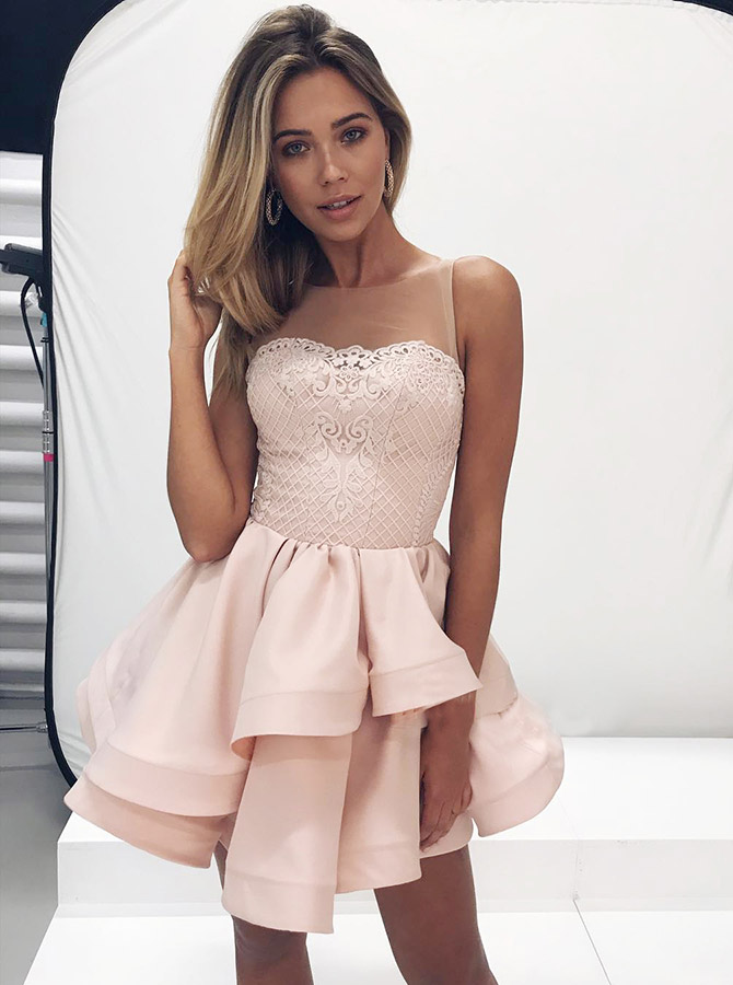 A-Line Round Neck Tiered Pink Satin Short Homecoming Dress with Lace фото