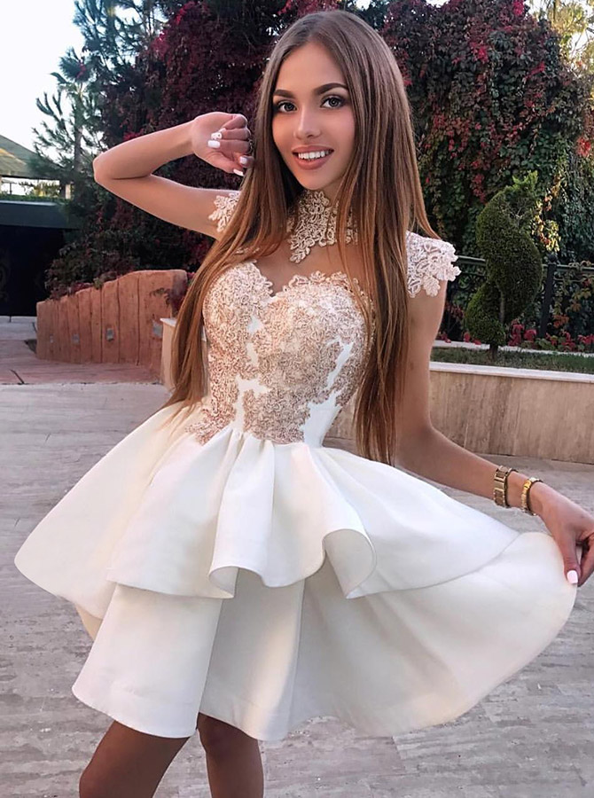 A-Line High Neck White Satin Homecoming Prom Dress with Appliques фото