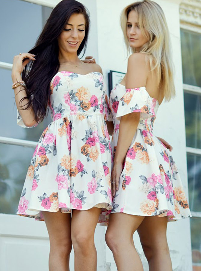 A-Line Sweetheart Short Floral Homecoming Satin Party Dress фото