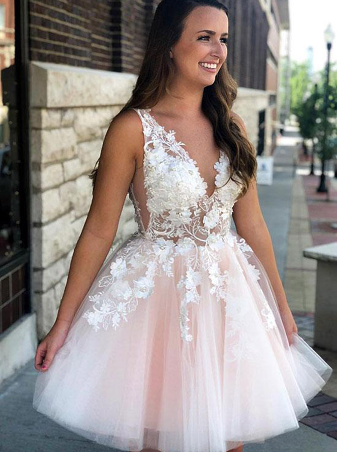 A-Line V-Neck Pearl Pink Tulle Homecoming Party Dress with Appliques фото
