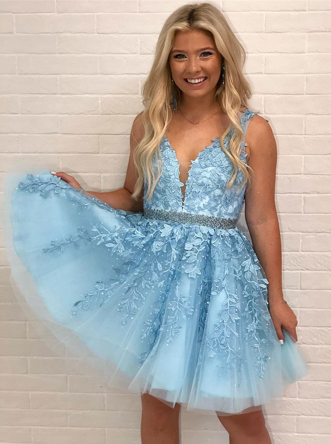 A-Line V-Neck Low Cut Blue Homecoming Prom Dress with Appliques Beading