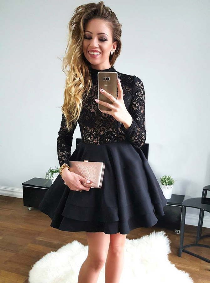 A-Line High Neck Long Sleeves Black Satin Homecoming Party Dress with Lace