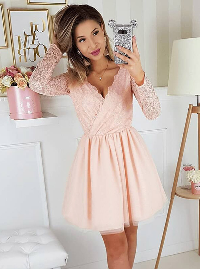 A-Line V-Neck Pink Long Sleeves Homecoming Party Dress with Lace