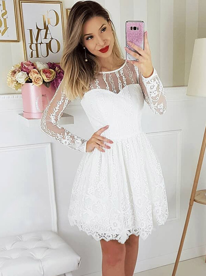 A-Line Round Neck Long Sleeves White Lace Short Homecoming Party Dress фото