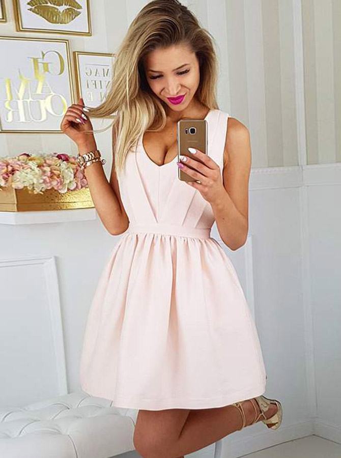 A-Line Scoop Open Back Short Pearl Pink Satin Homecoming Party Dress фото