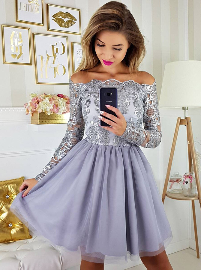 A-Line Off-the-Shoulder Long Sleeves Grey Tulle Homecoming Dress with Appliques фото