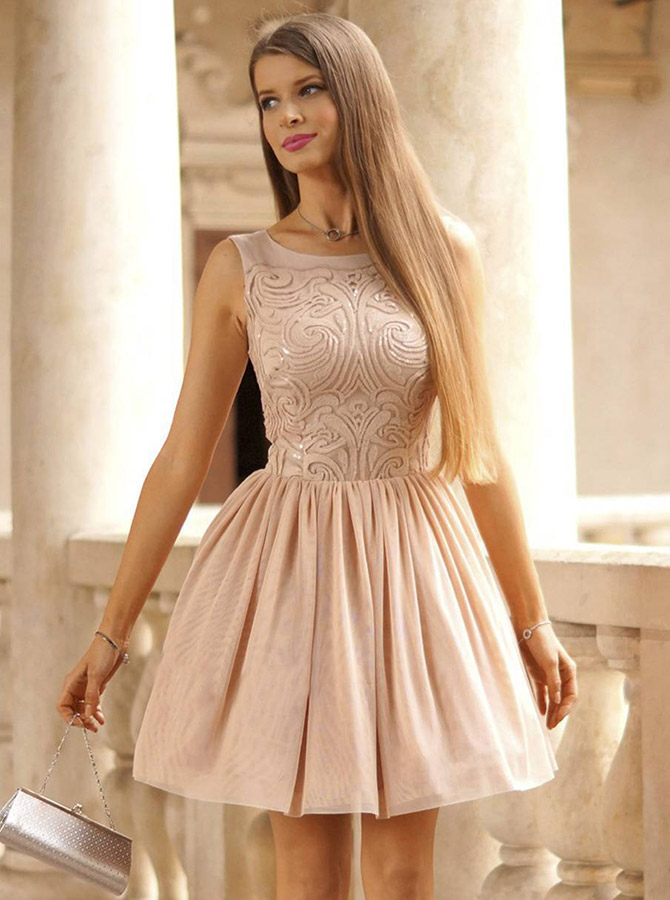 A-Line Round Neck Short Blush Tulle Homecoming Dress with Sequins