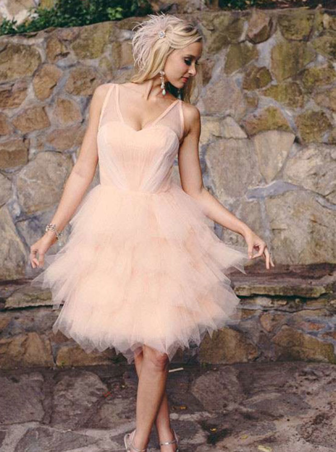 A-Line V-Neck Knee Length Pearl Pink Tulle Homecoming Dress фото