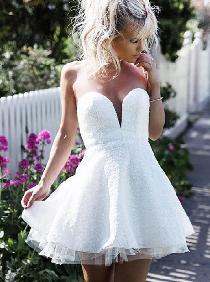Simple-dress / A-Line Sweetheart Short White Lace Homecoming Party Dress