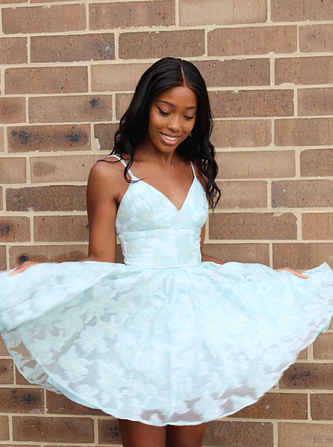 Simple-dress / A-Line Spaghetti Straps Mint Lace  Short Homecoming Dress