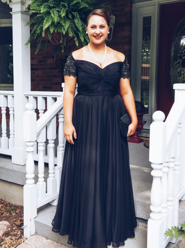 Simple Off The Shoulder Short Sleeves With Beading Chiffon Long Navy Blue Prom Dress фото