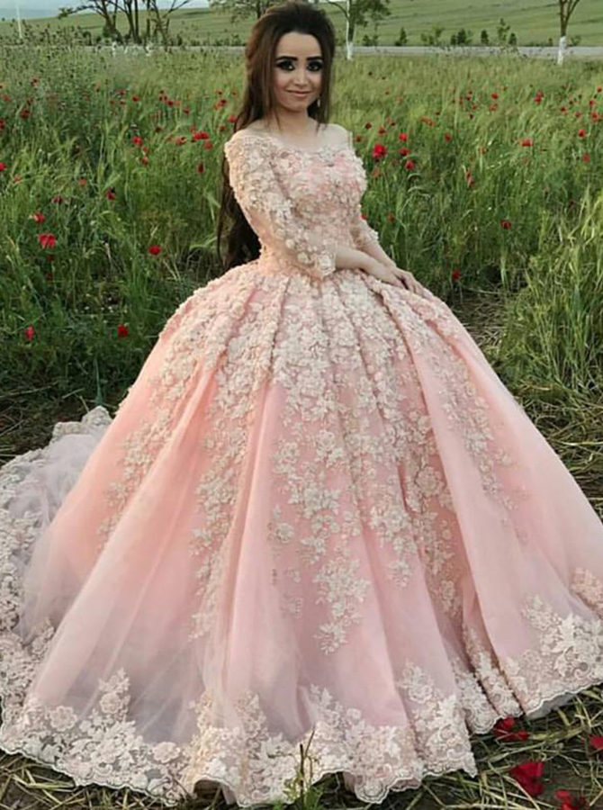 Ball Gown Off-the-Shoulder Pearl Pink Tulle Appliques Quinceanera Dress