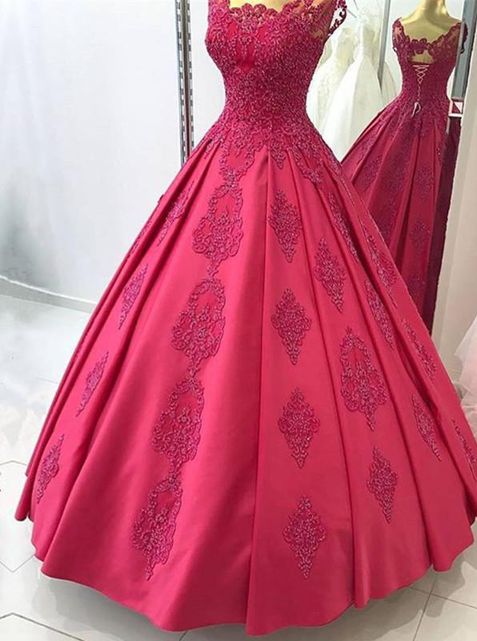 Ball Gown Square Floor-Length Dark Red Satin Appliques Quinceanera Dress фото