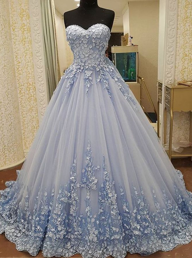 Ball Gown Sweetheart Floor-Length Blue Tulle Appliques Quinceanera Dress фото