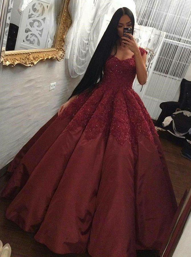 Ball Gown Square Neck Maroon Satin Quinceanera Dress with Appliques фото