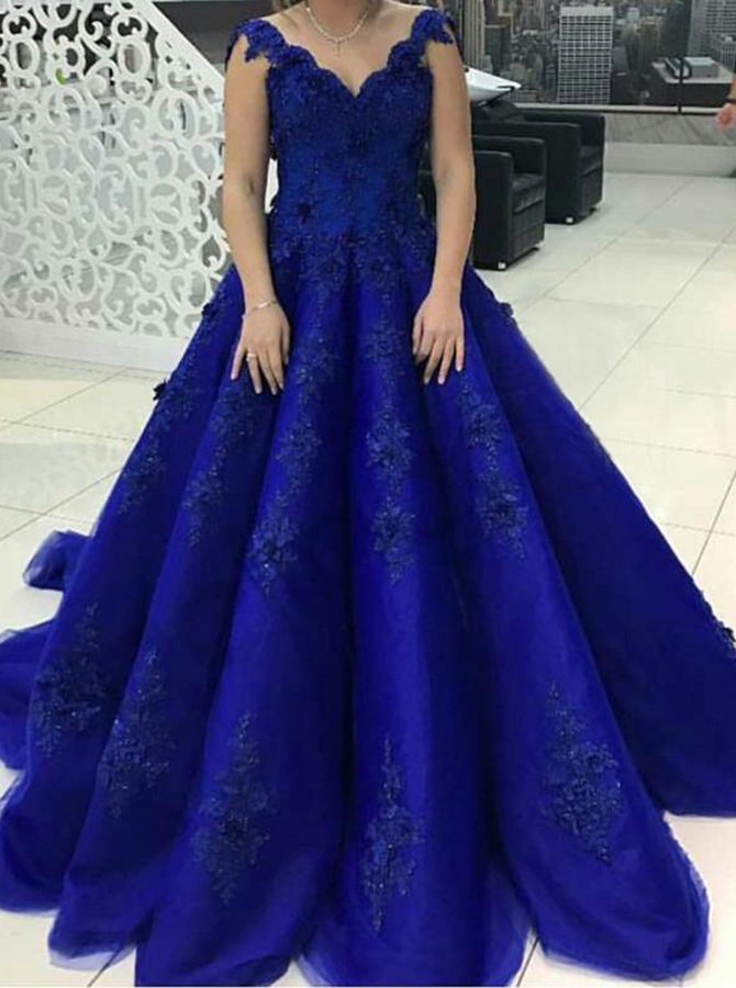 Ball Gown Scalloped-Edge Royal Blue Tulle Appliques Quinceanera Dress Simple-dress