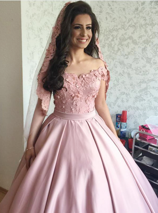Ball Gown Off-the-Shoulder Pink Satin Appliques Quinceanera Dress