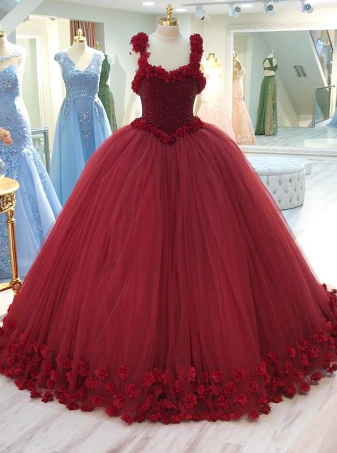 Ball Gown Straps Burgundy Tulle Beaded Quinceanera Dress with Flowers фото