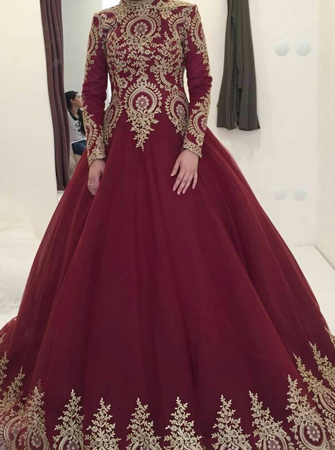 Ball Gown High Neck Long Sleeves Burgundy Quinceanera Dress with Lace