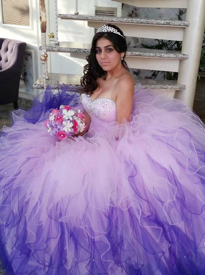 Ball Gown Sweetheart Lavender Tiered Tulle Beaded Quinceanera Dress фото