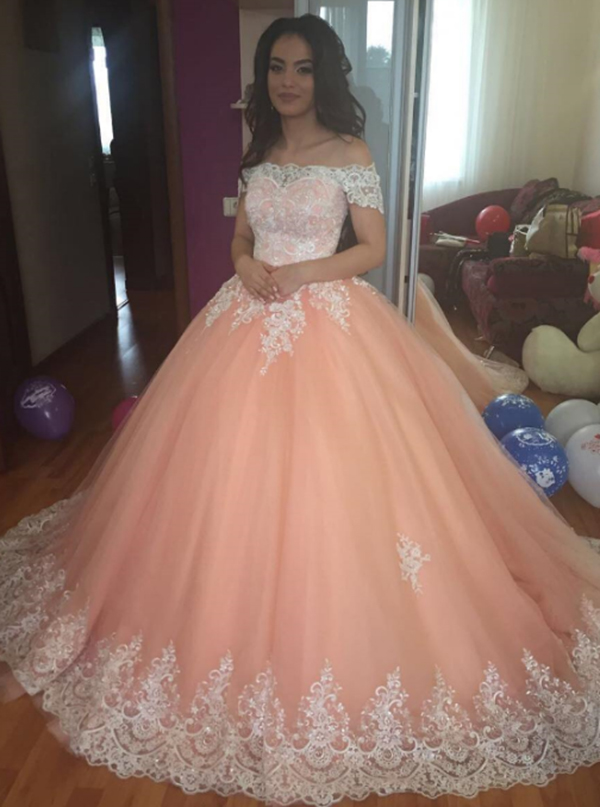 Ball Gown Off-the-Shoulder Peach Tulle Appliques Quinceanera Dress фото