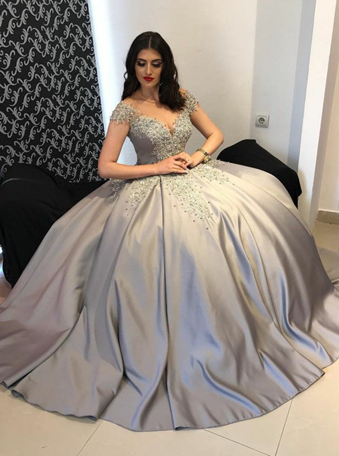 Ball Gown Off-the-Shoulder Light Grey Satin Quinceanera Dress with Appliques