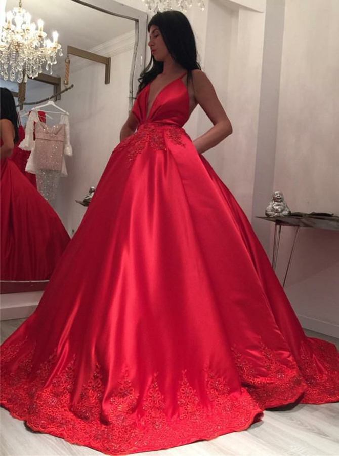 Ball Gown Spaghetti Straps Red Satin Appliques Prom Dress with Pockets фото