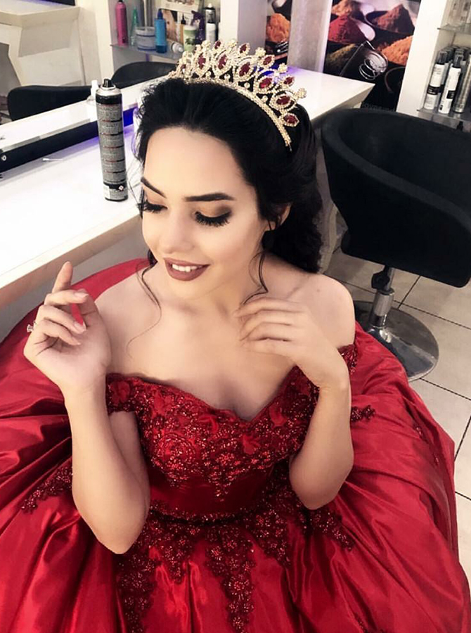 Ball Gown Off-the-Shoulder Dark Red Satin Quinceanera Dress with Appliques