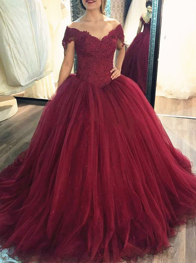 Ball Gown Off-the-Shoulder Burgundy Tulle Quinceanera Dress with Appliques фото