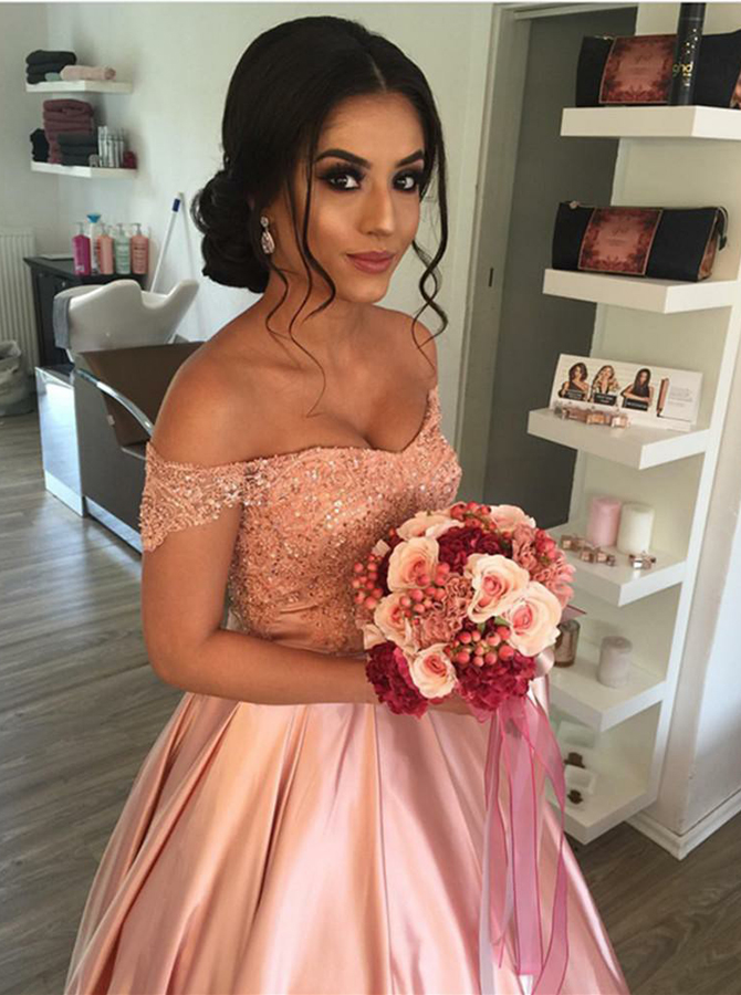 Ball Gown Off-the-Shoulder Pink Pleated Satin Quinceanera Dress with Appliques фото