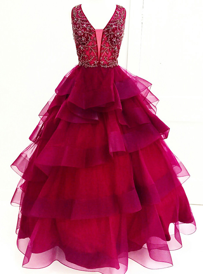 Ball Gown V-Neck Tiered Dark Red Tulle Beaded Quinceanera Dress фото