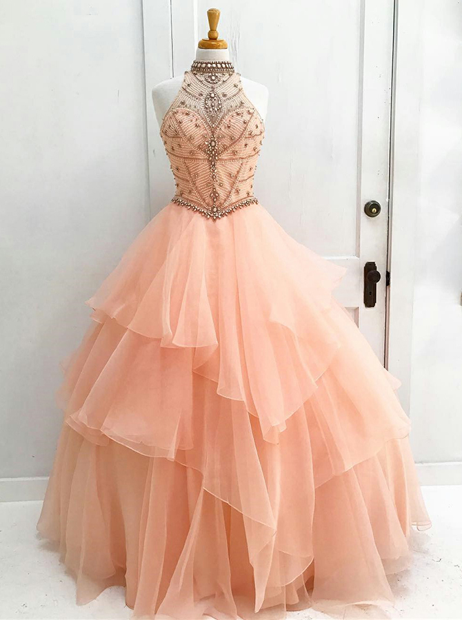Ball Gown High Neck Open Back Peach Organza Beaded Quinceanera Dress фото