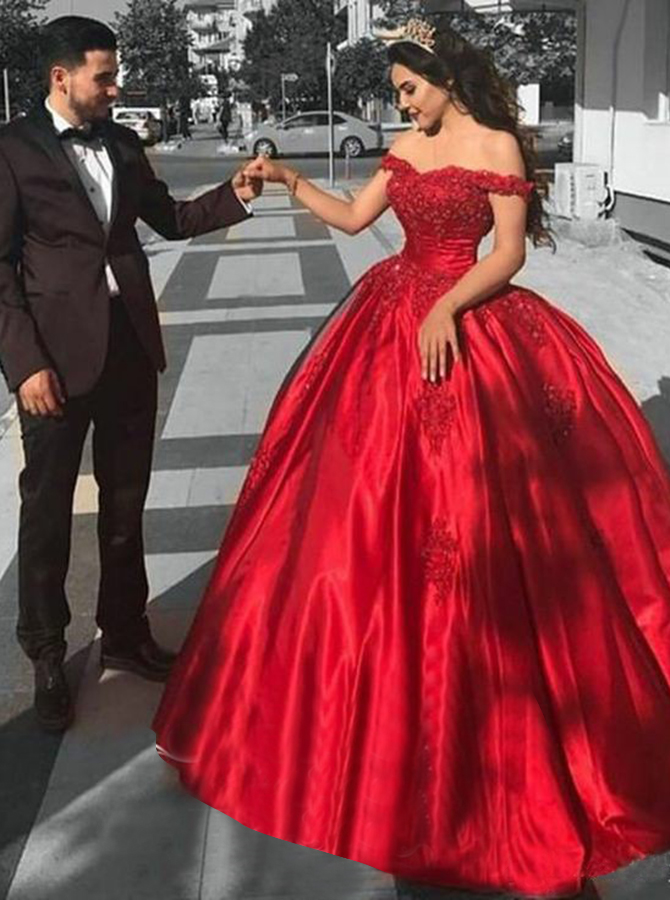 Ball Gown Off-the-Shoulder Red Satin Quinceanera Dress with Appliques