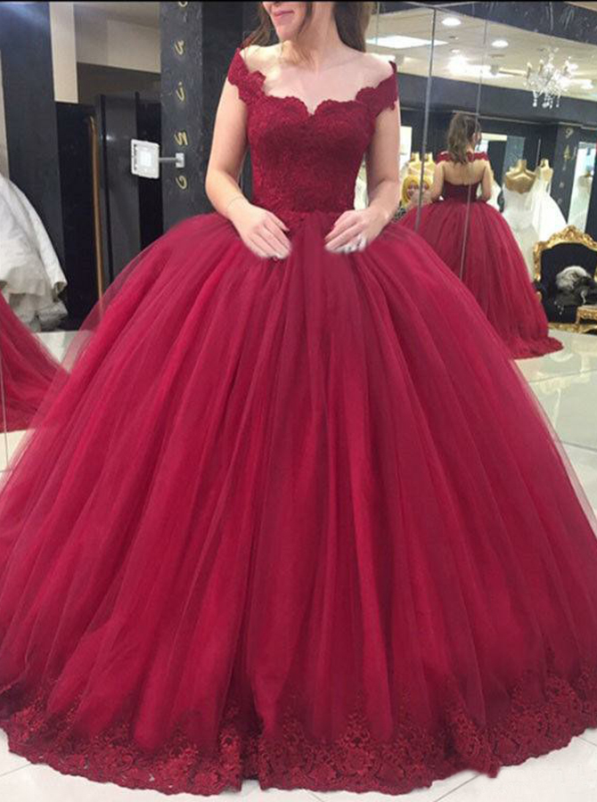 Ball Gown Off-the-Shoulder Dark Red Tulle Appliques Quinceanera Dress