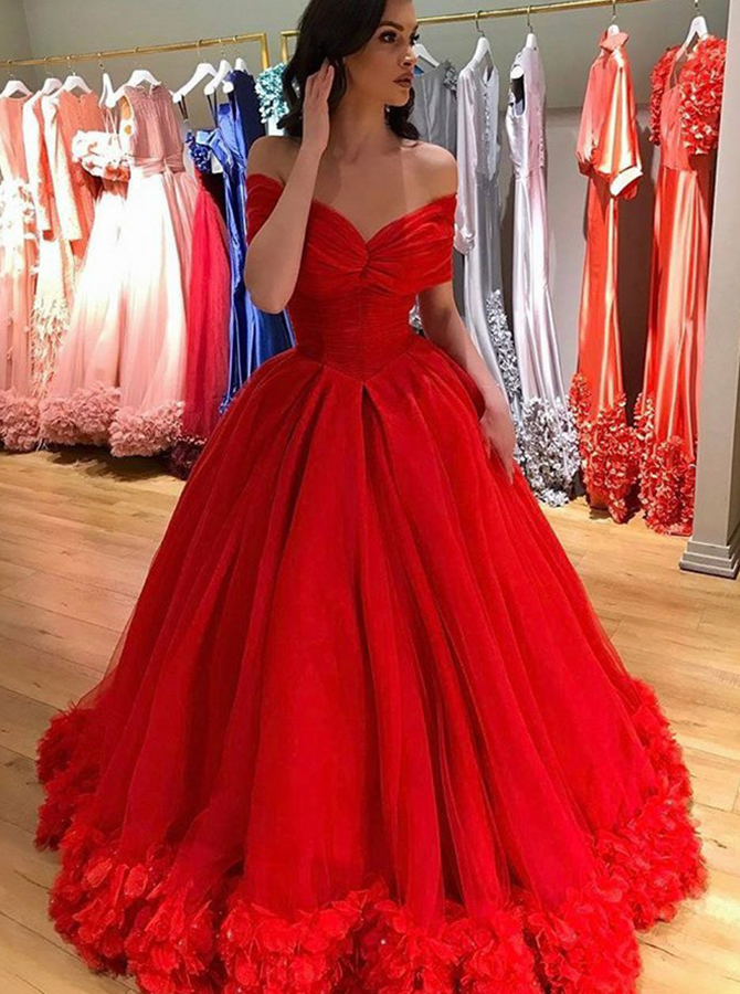 Ball Gown Off-the-Shoulder Red Tulle Quinceanera Dress with Flowers фото