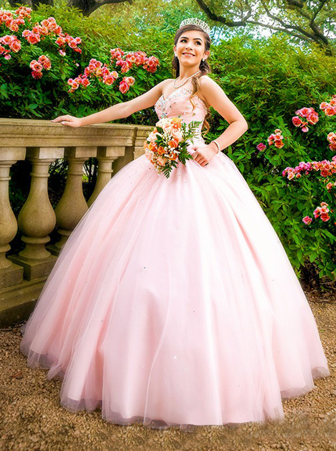 Ball Gown Sweetheart Floor-Length Pearl Pink Tulle Beaded Quiceanera Dress фото